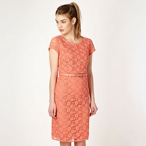 Butterfly by Matthew Williamson - Designer light orange belted lace shift dress