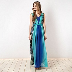 Butterfly by Matthew Williamson - Designer blue gradient snake print maxi dress