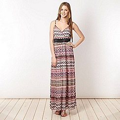 Butterfly by Matthew Williamson - Designer grey neon aztec printed maxi dress