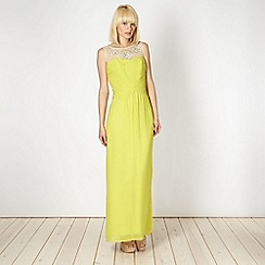 Butterfly by Matthew Williamson - Designer lime green pleated bodice maxi dress