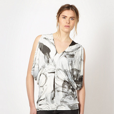 Todd Lynn/EDITION - Designer grey marble print drape jersey top