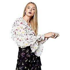 Studio by Preen - White floral print ruffle pussy bow top