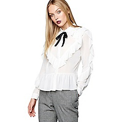 Studio by Preen - Ivory frilled pussy bow blouse