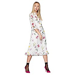 Studio by Preen - White floral print V-neck midi length shirt dress