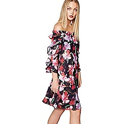Studio by Preen - Multi-coloured floral print Bardot neck knee length dress