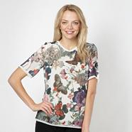 Designer white butterfly printed chiffon top