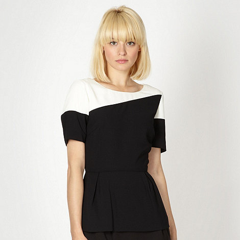 Preen/EDITION - Designer black colour block peplum top