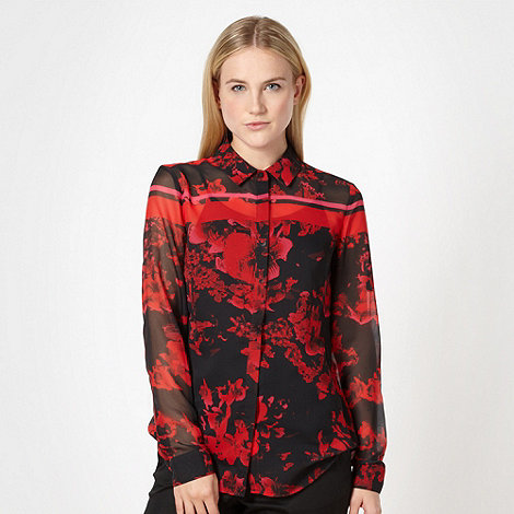Preen/EDITION - Designer red floral chiffon shirt