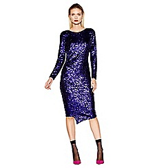 Studio by Preen - Purple sequin long sleeve midi length dress