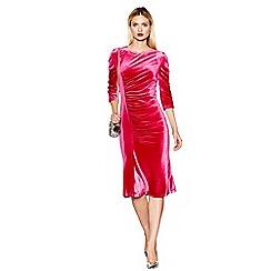 Studio by Preen - Pink ruched velvet midi length dress