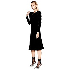 Studio by Preen - Black velvet long sleeves midi dress
