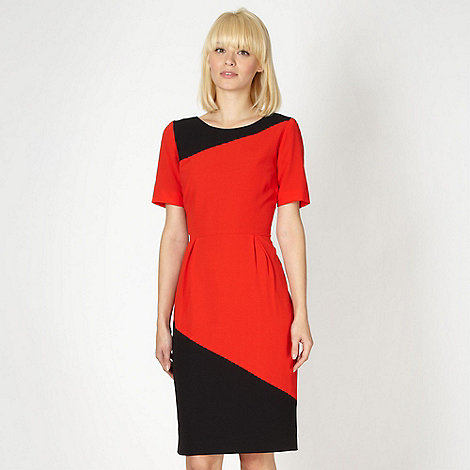 Preen/EDITION - Designer red colour block crepe cocktail dress
