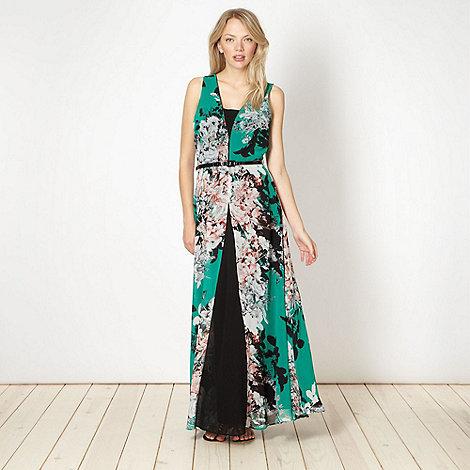 Preen/EDITION - Designer green floral chiffon maxi dress