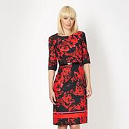 Designer red floral dress