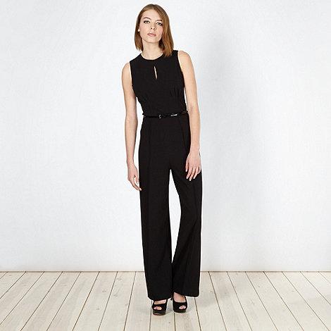 null - Designer black crepe belted jumpsuit