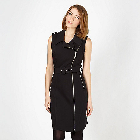 Preen/EDITION - Designer black zip belted dress