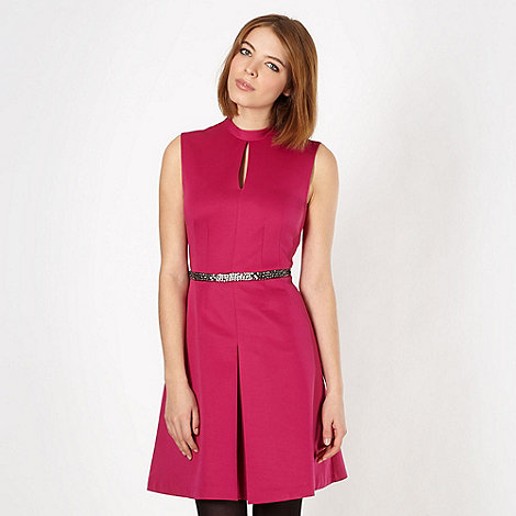 null - Designer pink embellished keyhole dress