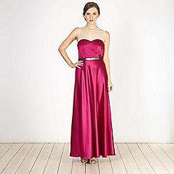 Marios Schwab/EDITION - Designer dark pink embellished satin maxi dress