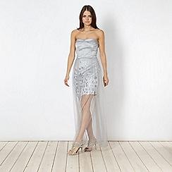 Marios Schwab/EDITION - Designer silver sequin mesh overlay maxi dress