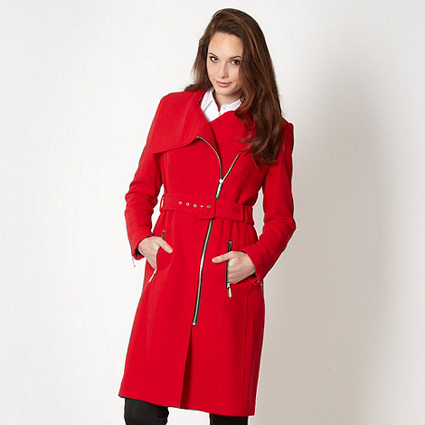 Preen/EDITION - Designer red oversize collar coat