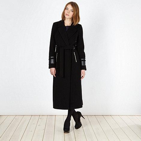 Preen/EDITION - Designer black wool blend wrap coat