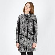 Designer black textured woven coat