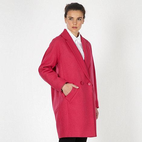 null - Designer pink oversize wool blend coat