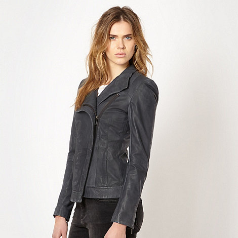 todd-lynn-edition - Designer grey leather asymmetric jacket