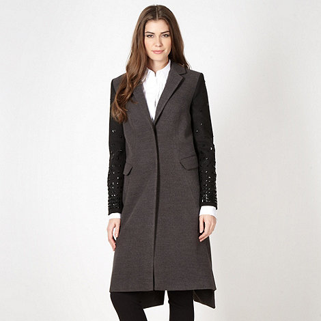 Preen/EDITION - Designer dark grey embellished sleeve coat