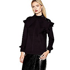 Studio by Preen - Black frilled trim roll neck jumper with wool