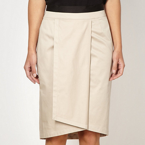 Preen/EDITION - Designer beige wrap over pencil skirt