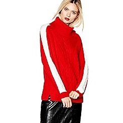 Studio by Preen - Red cable knit roll neck jumper with wool