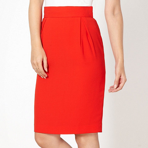 Preen/EDITION - Designer red pleated crepe pencil skirt