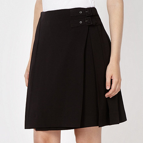 Jonathan Saunders/EDITION - Designer black pleated crepe buckled kilt