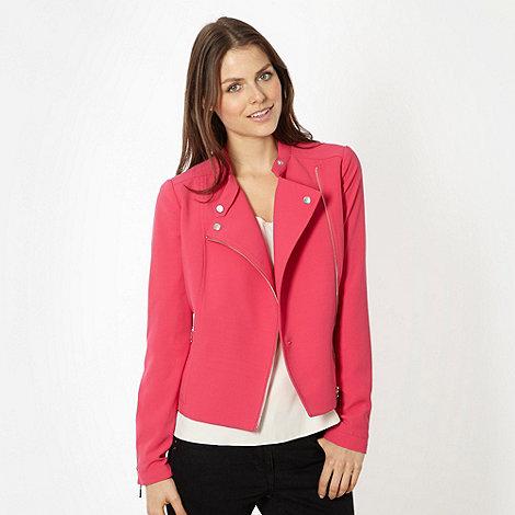 Preen/EDITION - Designer pink crepe biker jacket
