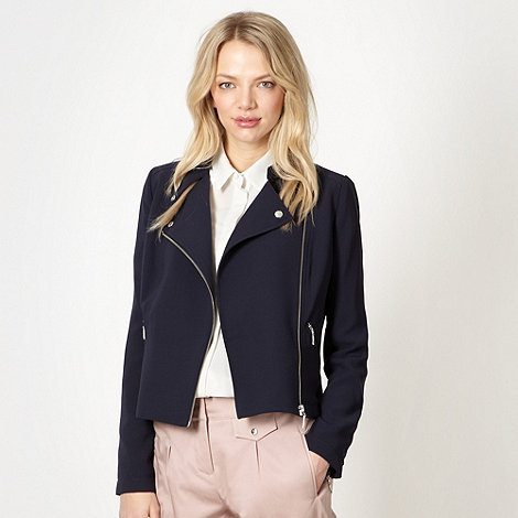 Preen/EDITION - Designer navy crepe biker jacket