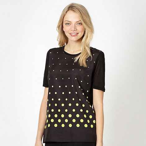 Jonathan Saunders/EDITION - Designer black spotted crepe front t-shirt