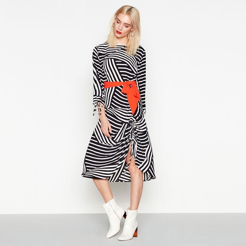 Studio by Preen - Multi-Coloured Stripe Print Chiffon Midi