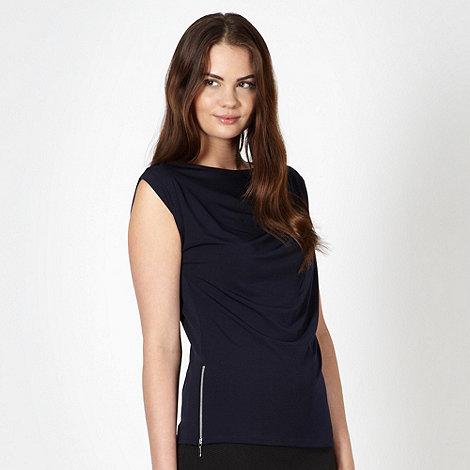 preen-edition - Designer navy side zip cowl neck top