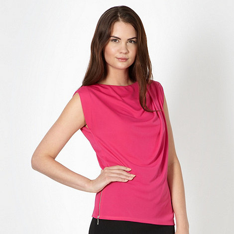 preen-edition - Designer pink side zip cowl neck top
