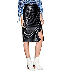 Studio by Preen - Black PU knee length ruffle skirt