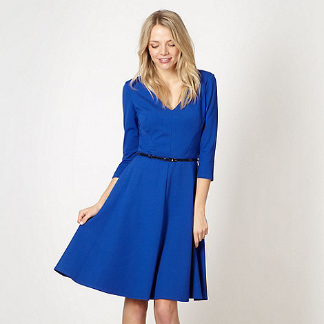 preen-edition - Designer royal blue belted fit and flare dress