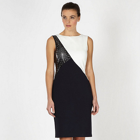 preen-edition - Designer black colour block cut out shift dress