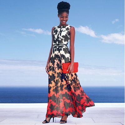Designer orange floral border ombre maxi dress
