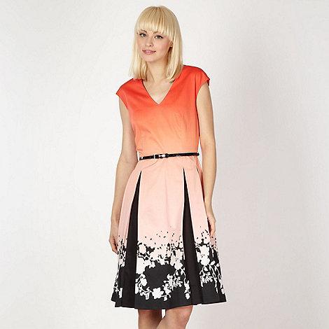 null - Designer orange floral border ombre prom dress