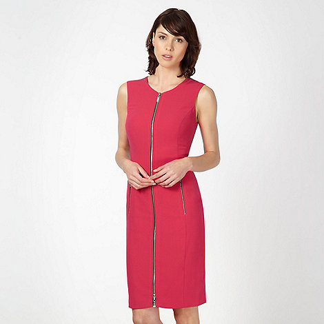 Preen/EDITION - Designer pink crepe zip front dress