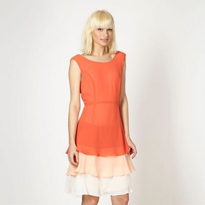 Designer orange layered frill dress