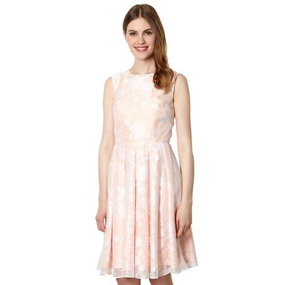 Designer peach floral burnout fit and flare dress