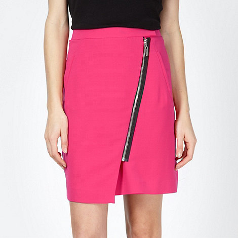preen-edition - Designer pink asymmetric zip skirt
