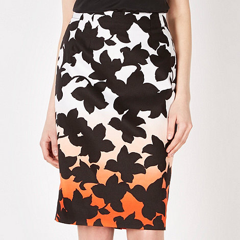 Jonathan Saunders/EDITION - Designer white orange silhouette floral pencil skirt